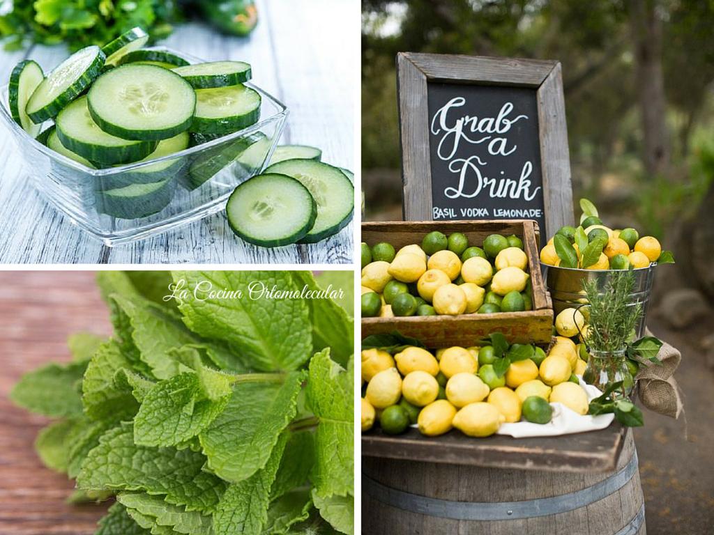 Agua de pepino, hierbabuena y limón